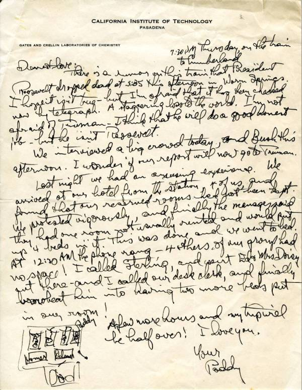 Letter from Linus Pauling to Ava Helen Pauling. Page 1. April 12, 1945