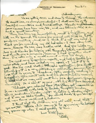 Letter from Linus Pauling to Ava Helen Pauling. Page 1. January 30, 1946