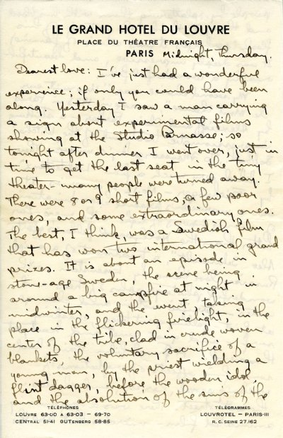 Letter from Linus Pauling to Ava Helen Pauling. Page 1. November 25, 1948