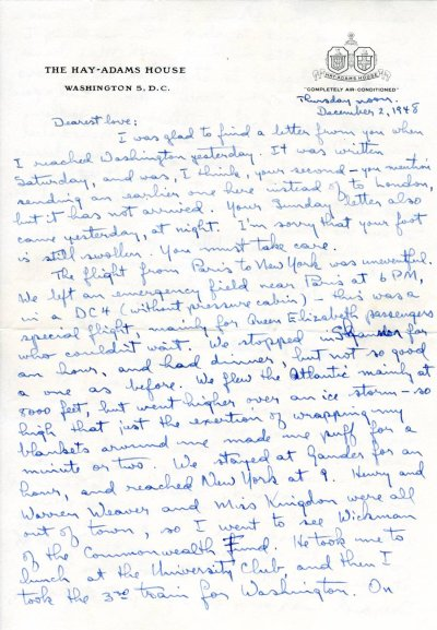 Letter from Linus Pauling to Ava Helen Pauling. Page 1. December 2, 1948