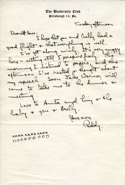 Letter from Linus Pauling to Ava Helen Pauling. Page 1. June 21, 1949