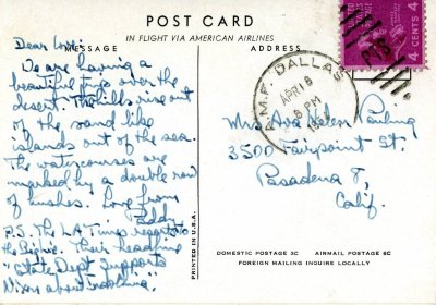 Letter from Linus Pauling to Ava Helen Pauling.Page 1. April 18, 1954