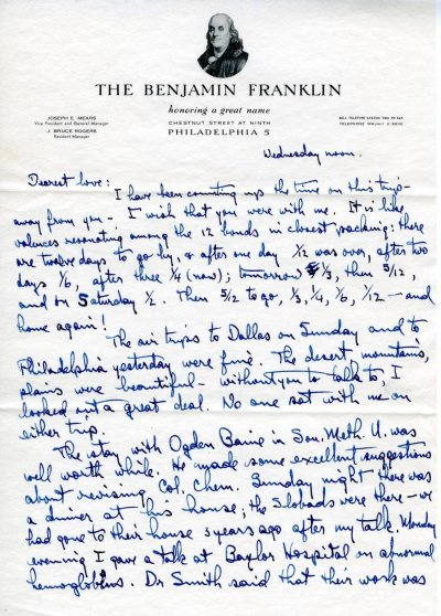 Letter from Linus Pauling to Ava Helen Pauling. Page 1. April 21, 1954