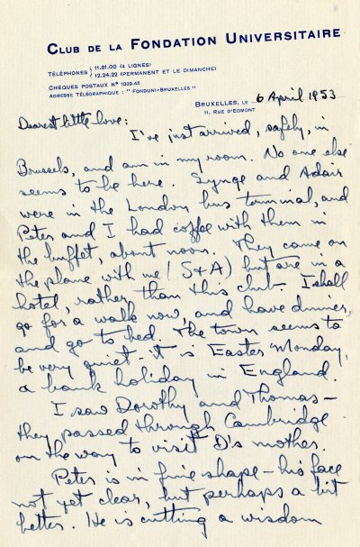 Letter from Linus Pauling to Ava Helen Pauling.Page 1. April 6, 1953