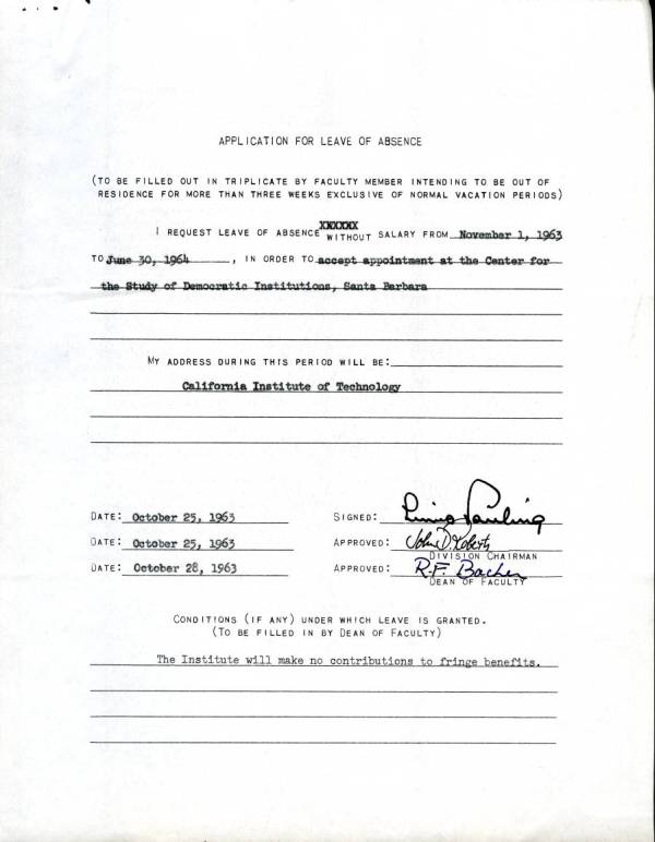 "Application For Leave Of Absence."" October 25, 1963. - Published"