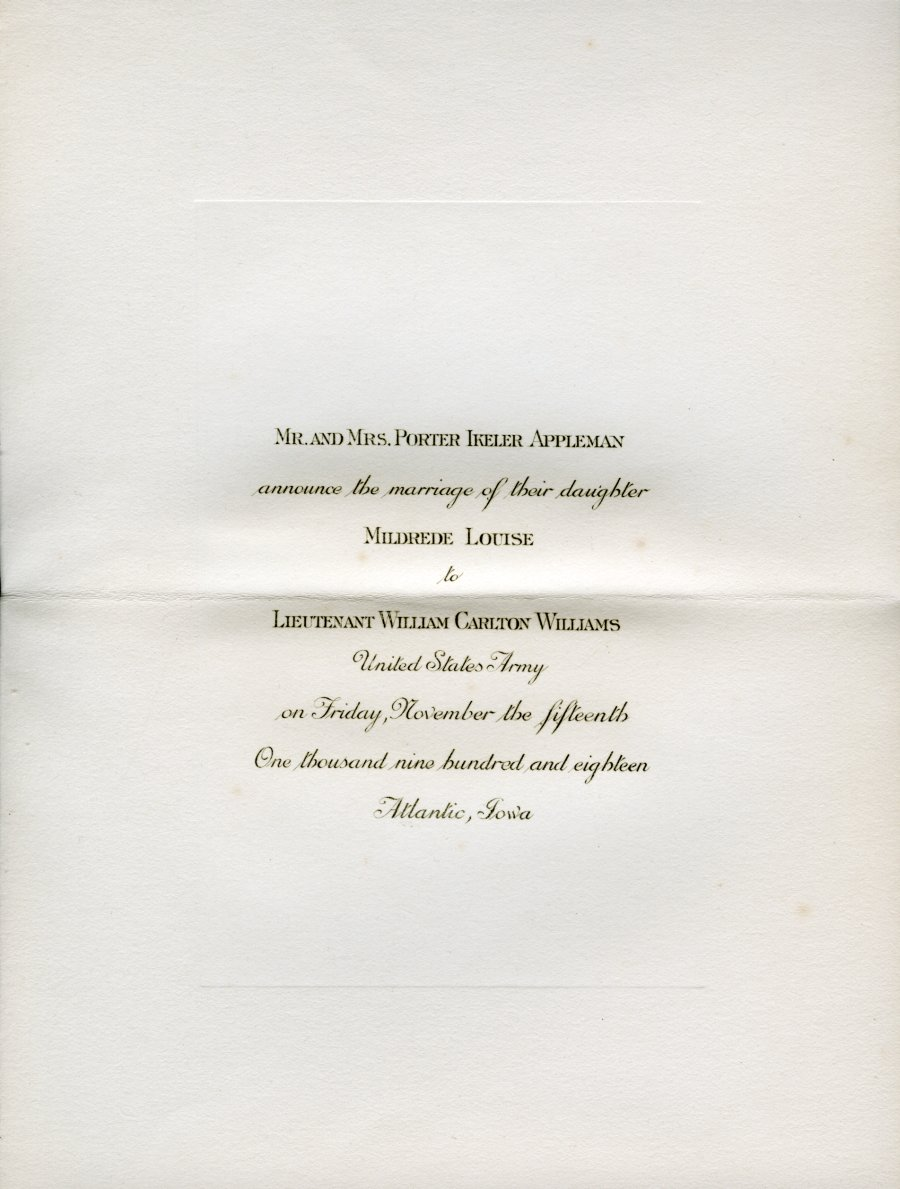 wedding invitation from 1918