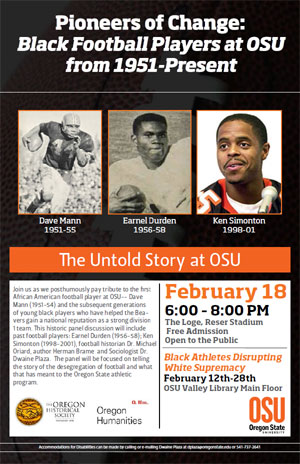 """Pioneers of Change: Black Football Players at OSU from 1951-Present"". February 18, 2014"
