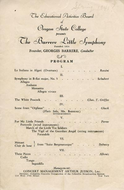 "Program from a concert featuring ""The Barrere Little Symphony,"" Spring 1941."