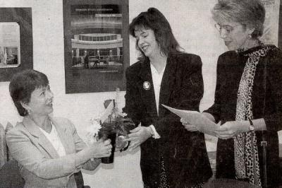 Carol Andrews (left) receiving the OSU Management Associations's Our Heroes Award, November 2001.