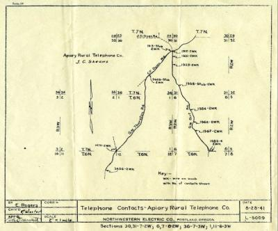 Map of telephone lines run by the Apiary Rural Telephone Cooperative, ca. 1941.