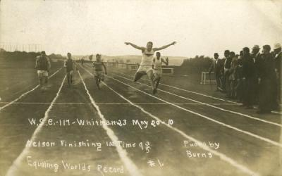 Photo of the finish of a Washington State College vs. Whitman College track and field event, May 1910.