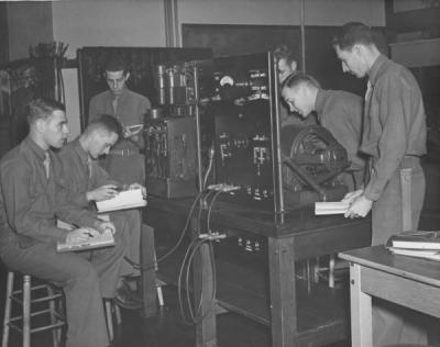Army Specialized Training Program (ASTP) students studying electrical engineering, 1943.
