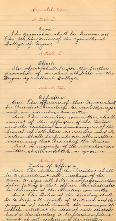 Page one of the constitution of the Oregon Agricultural College Athletic Union, ca. 1900.