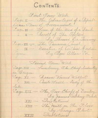 Contents page from Thomas Autzen's English notebook for the 1905-1906 school year.