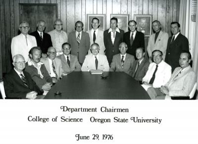 OSU College of Science department chairmen, June 1976. Robert W. Newburgh, the first chair of Biochemistry and Biophysics, stands back row, fourth from left.
