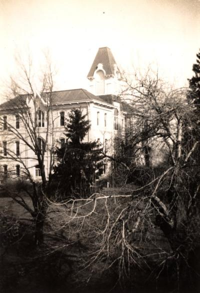 "Image from the Blodgett Photographs and Ephemera Collection. Caption reads: ""Administration Building from third floor Science Building, room 310,"" 1937."