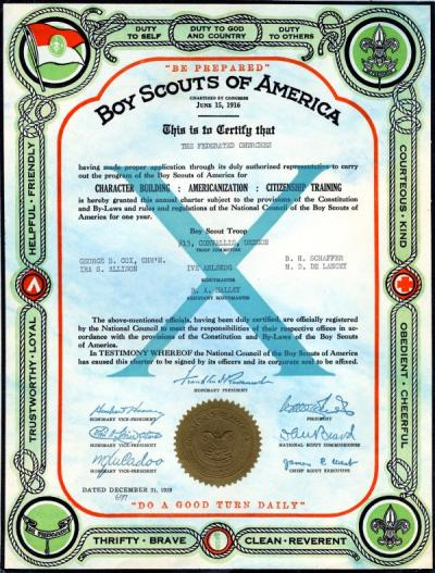 Boy Scouts of America Charter for Troop #13, Corvallis, Oregon, December 31, 1939.