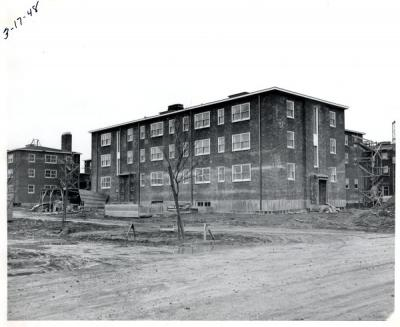 Image of the construction of Sackett Hall, ca. 1948.