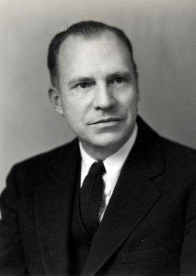 Dr. Joseph S. Butts, 1947. Butts was a professor of Agricultural Chemistry from 1939-1961 and Department Head from 1946-1961. A focus of his interest was utilizing atomic energy for peaceful means.
