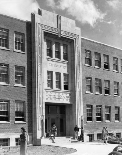 Entrance to the Chemistry Building (Gilbert Hall) soon after its construction, ca. 1940.