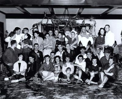 Participants at a Phi Delta Theta barn dance, ca. 1950s.