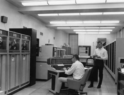 Staff and equipment in the Oregon State University Computer Center, 1967.