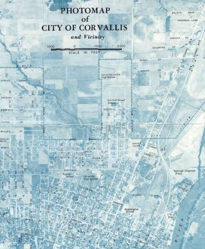 Photomap of the city of Corvallis, 1957.