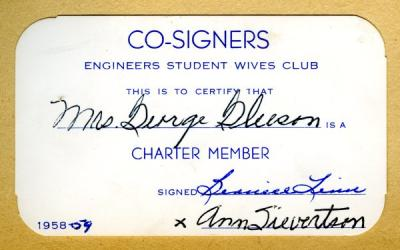 Co-Signers Club membership card, 1958.