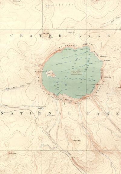 Map of Crater Lake National Park, 1903.