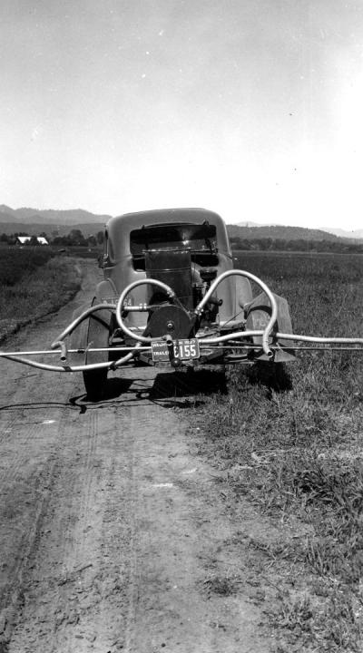 Home-made crop duster on a car, Jackson County, Oregon, ca. 1936.