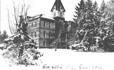 Benton Hall covered with snow, January 1916.