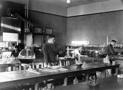 Four men in a Chemical Engineering Laboratory, ca 1920s.