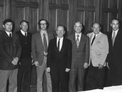 Triad Club new members for 1973-1974. From left: Don Poling, Jim Anderson, Eiseman, Freund, Lusette, Bone and Wilkins. May 1974.