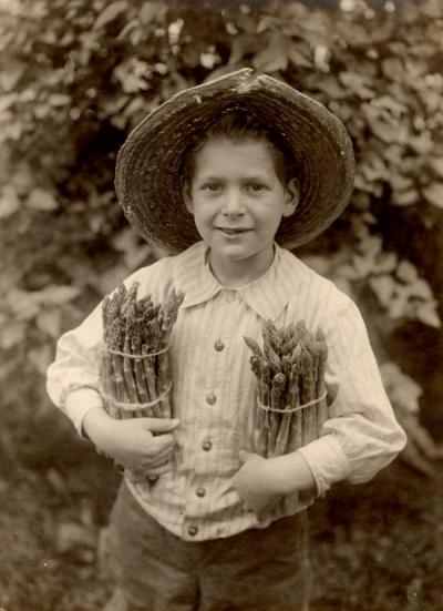 An unidentified child holding asparagus, ca 1920s.