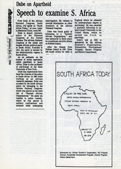 """Dube on Apartheid - Speech to examine S. Africa,"" OSU Daily Barometer, October 27, 1980."
