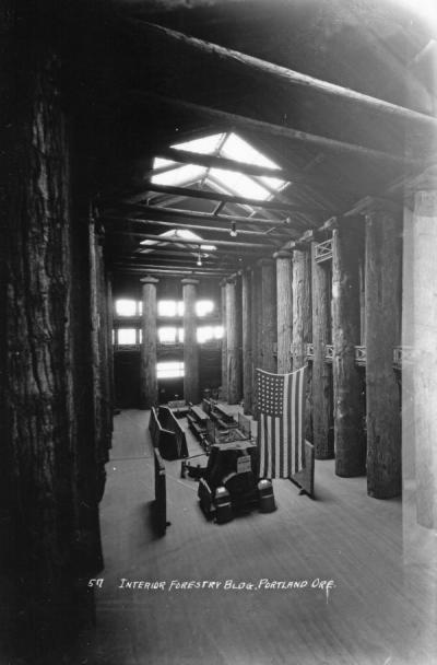 Interior of the Forestry Building constructed as part of the Lewis and Clark Centennial Celebration, Portland, Oregon, 1905.