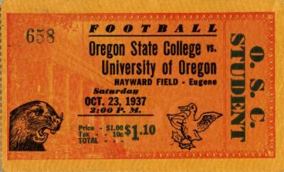 Civil War ticket stub, October 1937.