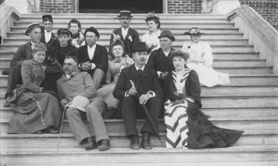 <p>President John McKnight Bloss with students, ca. 1894. First row (bottom) L to R:?, William H. Bloss or Ed. Bryson, Pres. John M. Bloss, and ? Gellatly?. Middle row: ?, ?, ? Delia Gellatly?, ?. Top row: ?, ?, Ed Wilson,</p><p>				Dorothea Nash or Delia Gellatly, ?.</p>