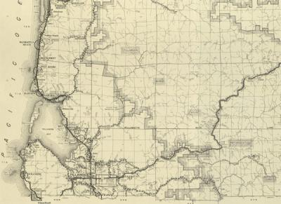 Detail from a highway map of Tillamook County, Oregon, 1954.