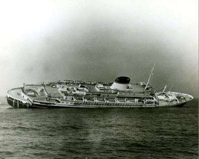 Image of the S.S. Andrea Doria sinking after its collision with the M.S. Stockholm off the coast of Massachusetts, July 25, 1956. Viola Gentle was a passenger on this ship.