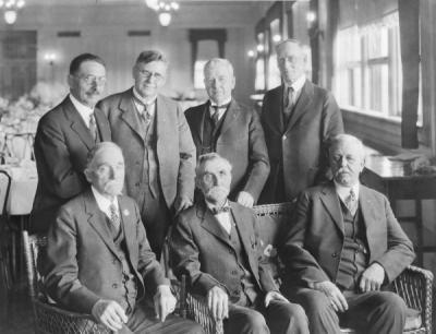 <p>Alumni inducted into Phi Kappa Phi, 1924. Front row (left to right): J. K. Weatherford '72; William H. Holman '83; William Y. Masters '82. Back row: James H. Collins '88; W. J. Gilstrap '98; John Fulton '92; Newton A.</p><p>				Thompson '76.</p>