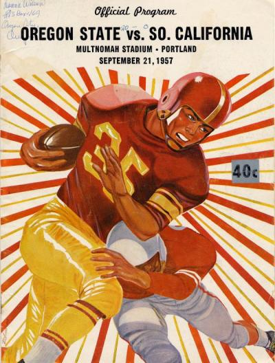 OSC vs USC football game program cover, September 1957.