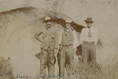 C.C. Hall, Ira Yarnall and Aldo Leopold at Tres Piedras, Carson National Forest, New Mexico. Ca. 1911-1912.