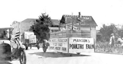 Hanson Poultry Farm float in the 4th of July parade, Corvallis, Oregon, 1920.