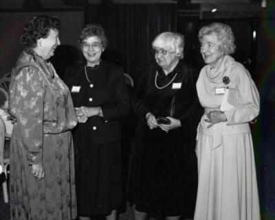 <p>Home Economics faculty, ca 1990s. From left: Jean Roth, Naurine McCormick, Alberta Johnston, and Esther Taskerud. Alberta Johnston was a faculty member for the Extension Service from 1963-1990. Starting as a Home</p><p>				Management Specialist in 1963, Johnston eventually became the Deputy Director of the Extension Service in 1987. Her focus was home economics. Esther Taskerud became the Assistant State 4-H Club Leader in November of 1947.</p><p>				Taskerud later served as the head of Home Economics from 1963-1969, retiring in 1970.</p>