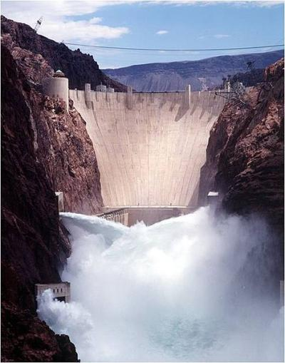 View of Hoover Dam with jet-flow gates open, 1998.