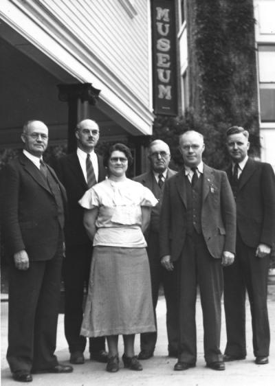 Horner Museum Committee members, 1936. Left to right: J. Leo Fairbanks; Dunn; Merlie Gilliam, Assistant Curator; Earnest Vaugh, History; Ira Allison, Geology; William Lawrence, Plant Ecology.