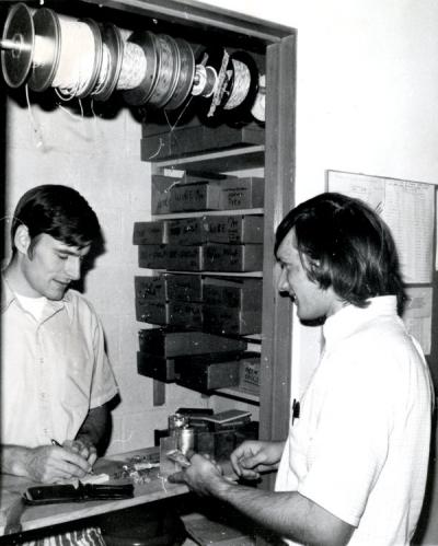 Unidentified engineering students, circa 1970s.