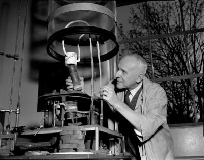 William J. Kroll in the laboratory, February 1958. Kroll was a metallurgist who joined the Oregon State College faculty in 1951. He also founded the non-profit Metal Research Foundation.