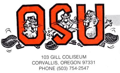"Intercollegiate Athletics ""Three Beavers"" logo, ca 1970s."